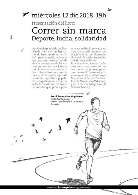 Cartel presentación Correr sin marca en Madrid